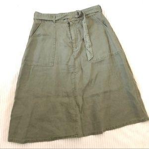 Artisan NY A-Line Linen Skirt Size 6 Green 110